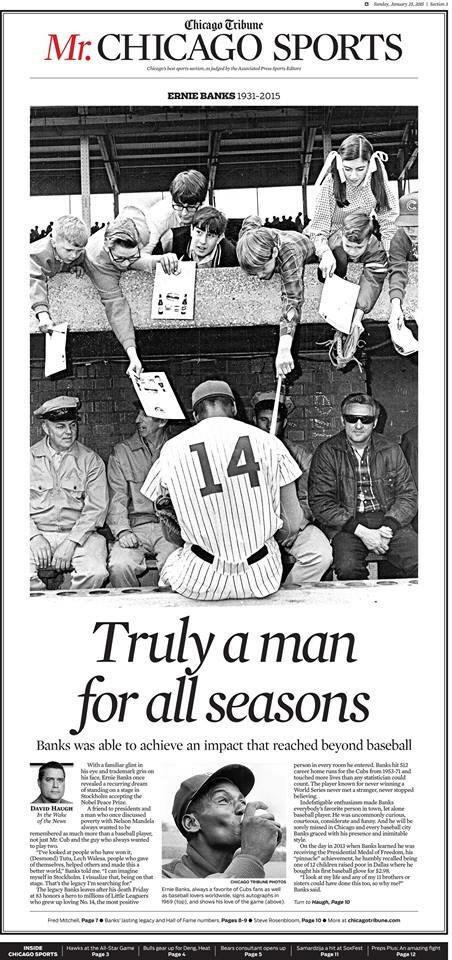 Chicago Tribune front page for sports is a tribute to Ernie Banks. For one day Mr. Chicago Sports. http://t.co/nxEFsYMajK