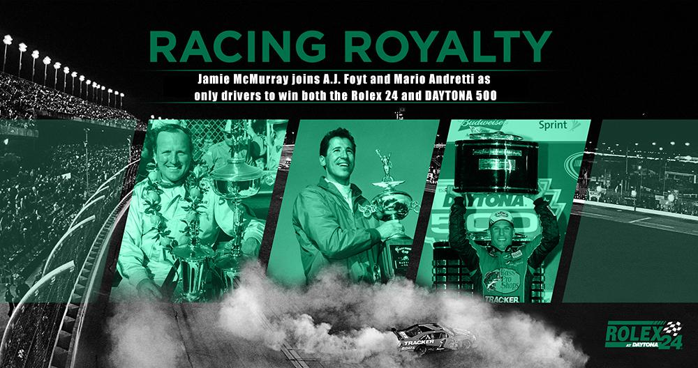 Retweet to congratulate @jamiemcmurray.  Becomes third driver to win #Rolex24 & #DAYTONA500 joining Foyt & Andretti. http://t.co/mDgvYYmXVF