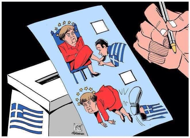 German Chancellor Angela Merkel and the Greek electorate, cartoon