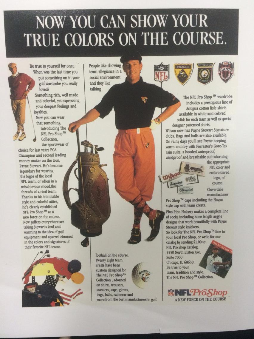 26 years ago: Payne Stewart signs a 3-year deal worth $675K to wear NFL logos on his clothes http://t.co/z0wLfyRRDK