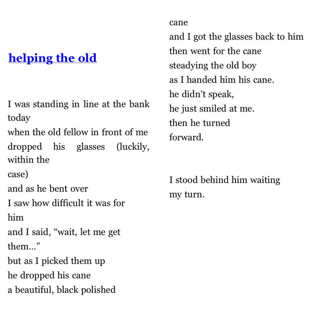 Helping The Old, Charles Bukowski http://t.co/mS3ZFgm67N