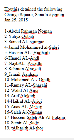@BShtwtr Please RT - List of #Houthi's youth prisoners from change square protest #yemen http://t.co/WVLfo8beKZ