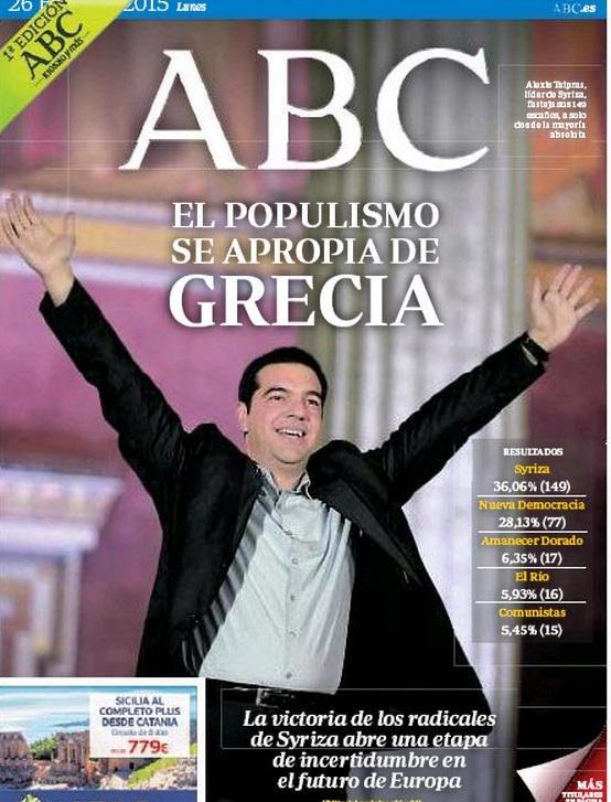 Portadas del ABC y La Razón sobre los resultados electorales en Grecia 2015 B8OwCtCIUAEc5vK