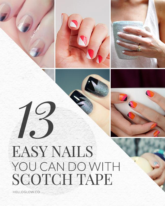 13 easy nail designs you can do with scotch tape: http://t.co/JE2WXrO0ga #manicure #nails http://t.co/h9uAHbuOeO