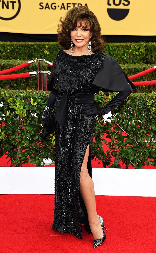 RT @e_FashionPolice: #TheRoyals' star Dame Joan Collins is a sparkling queen on the #ERedCarpet! http://t.co/Gl59fiEZhH http://t.co/LNbv7DU…