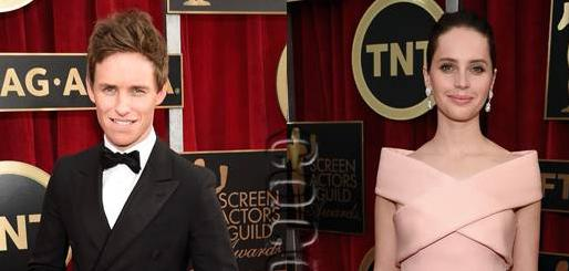 #FelicityJones & #EddieRedmayne are predictably proper on the #SAGAwards red carpet! http://t.co/KshjTCNLdJ http://t.co/xkpZB0GWNa