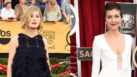 #RosamundPike & #MaggieGyllenhaal are red-lipped beauties at the #SAGAwards! http://t.co/OQxZsSidMa http://t.co/yiIAxVJ72f
