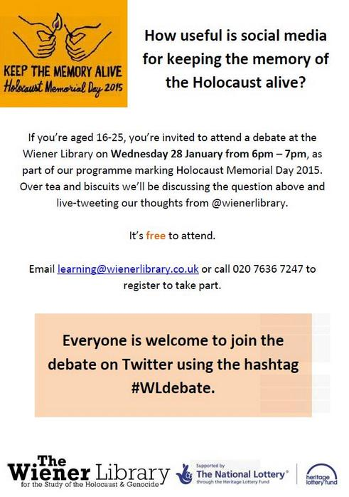 If you're 16-25 join tonight's social media debate @wienerlibrary or, online using #WLdebate http://t.co/fa2bwD96RF http://t.co/w8B03QxkbM