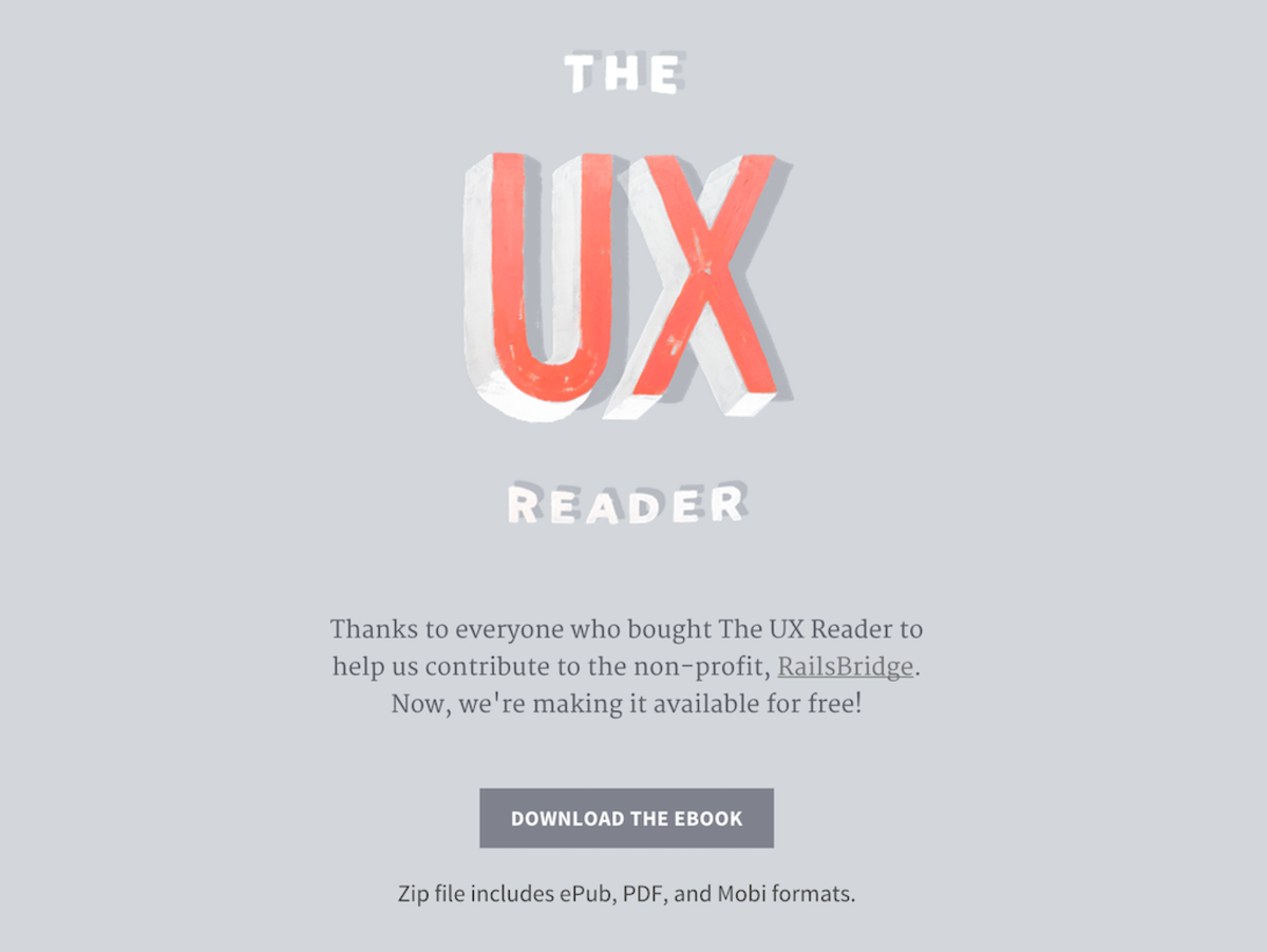 The UX Reader, an ebook written by @MailChimp's UX team, is now available to download for free http://t.co/SaJJ47lD5D http://t.co/DJ7vbOUQwM