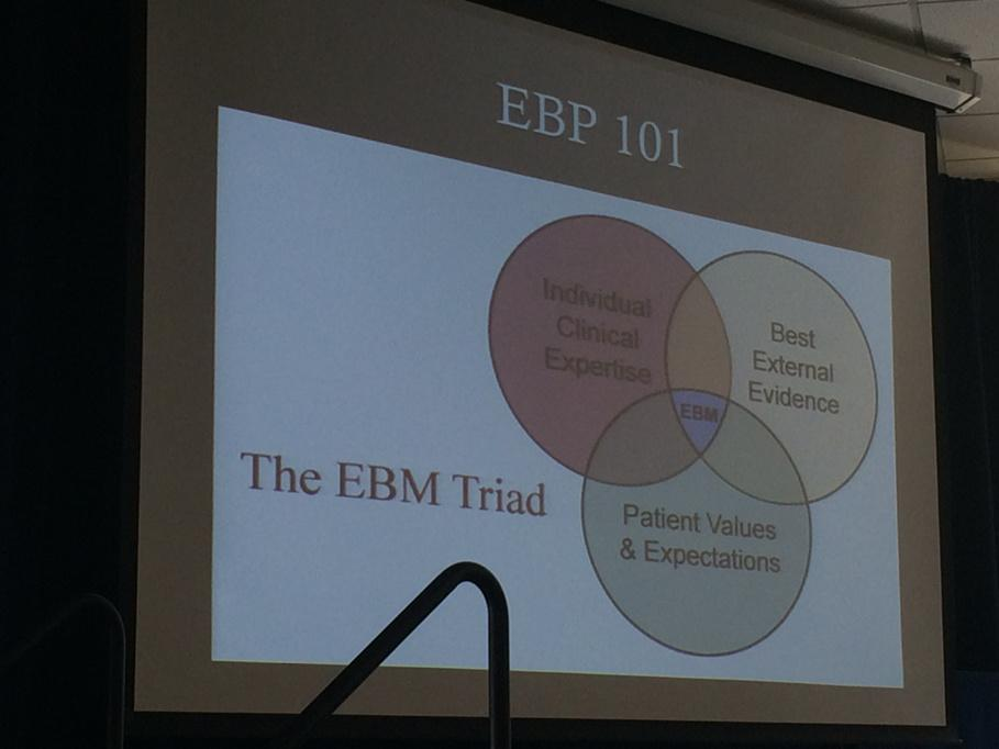Evidence based practice / evidence based medicine: evidence, expertise, values/expectations #mlibres http://t.co/TWEG2MA1mh