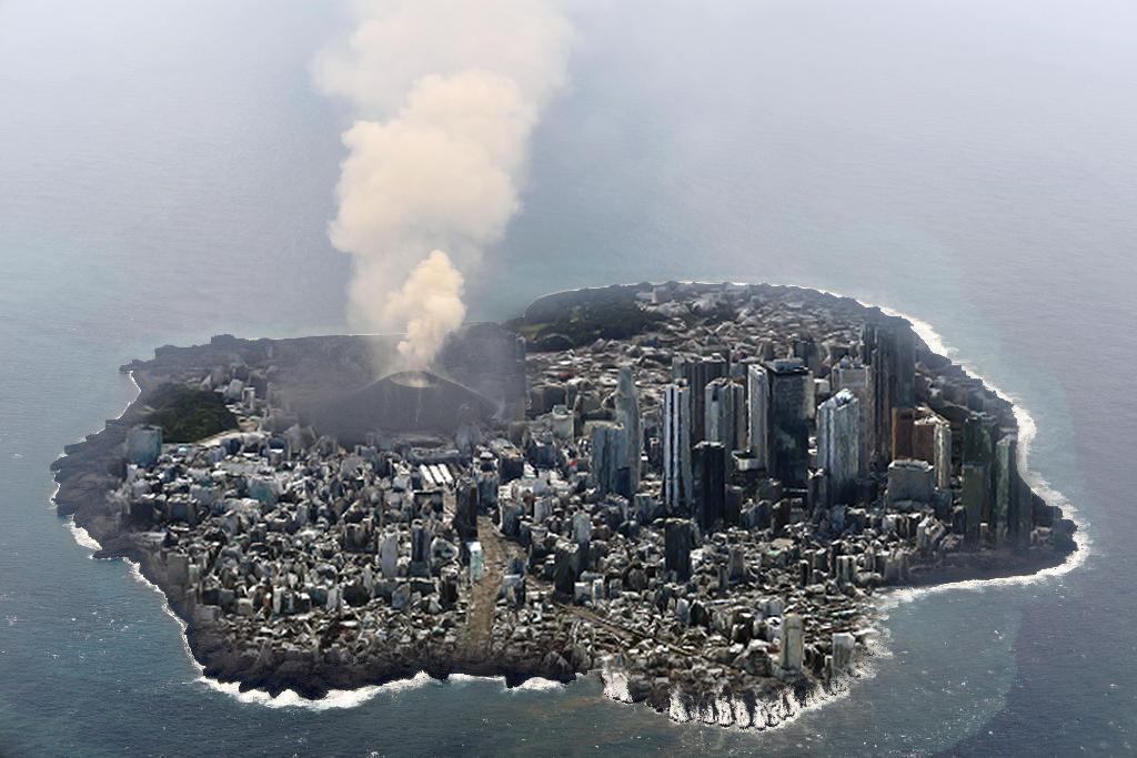 このネットで拾った画像、いま現在の西之島にほぼ同縮尺の新宿駅周辺を落とし込んだ画像らしいけど、こう見ると結構大きいよねぇw pic.twitter.com/XDg6QAzPZ9