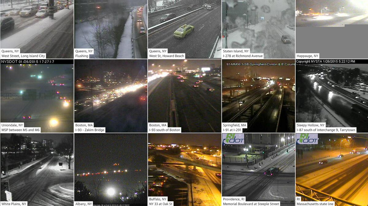 A+  Guardian's Blizzard #dataviz  quilt of 20 live traffic cams, Boston to NYC http://t.co/dfZ9pJ3CRM #ddj #webdesign http://t.co/kIIwiuPkg5
