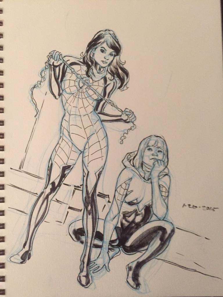 Silk and Spider-Gwen #dailysketches http://t.co/1JWj0gxh06