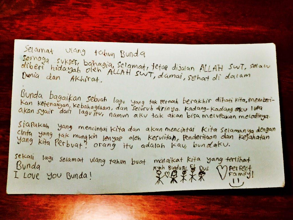 Maia Estianty The Queen On Twitter Surat Ucapan Ultah Dari