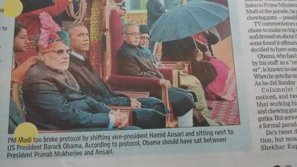 Another breach of protocol by Modi. His behaviour throughout this Obama visit has been cringeworthy. http://t.co/WwiphAbWrG