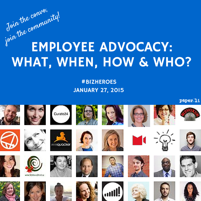 Just finished the Qs for today's #BizHeroes chat. Topic: Employee Advocacy https://t.co/pN2YZOTxUQ Hope you'll join! http://t.co/ZF23POxe3o