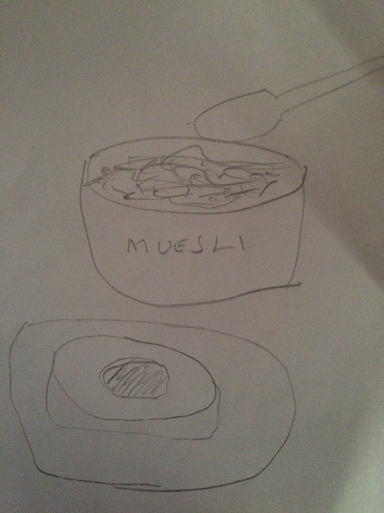 Instagram down so had to draw pic of breakfast. Nightmare! (That's poached egg and had to make it clear it's muesli) http://t.co/wtxzTprGbq