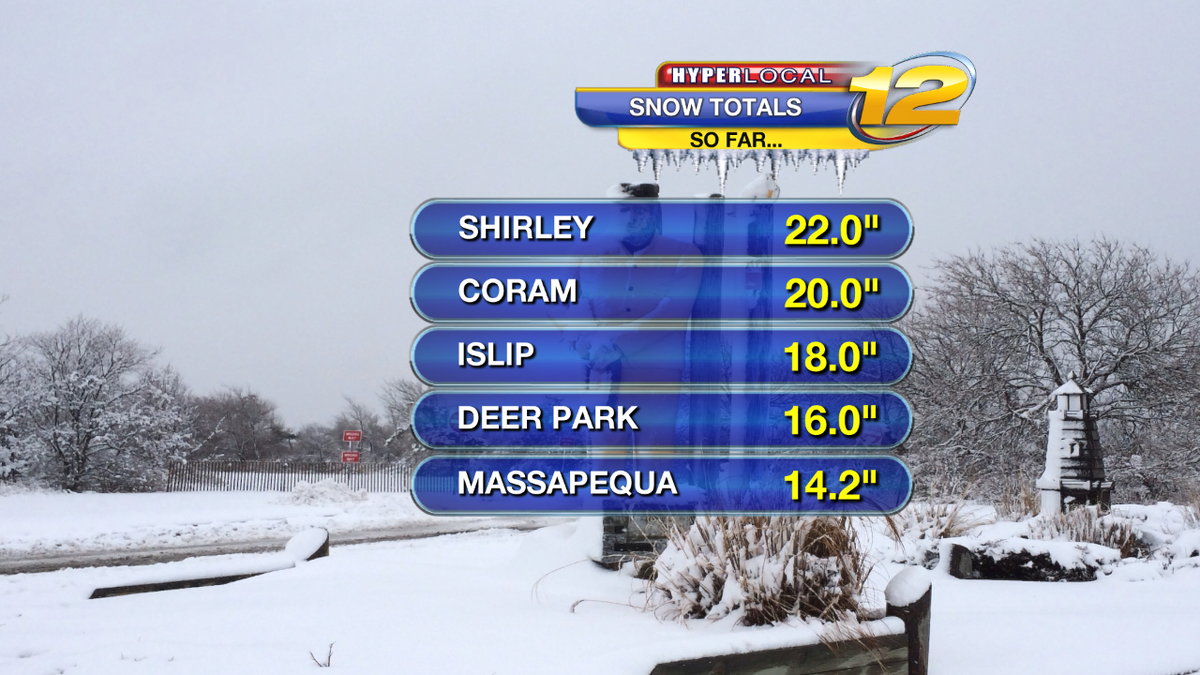 Some snow totals so far - Still Snowing in suffolk county. Lower amounts in nassau county and lighter snows http://t.co/58gAQWI0dB