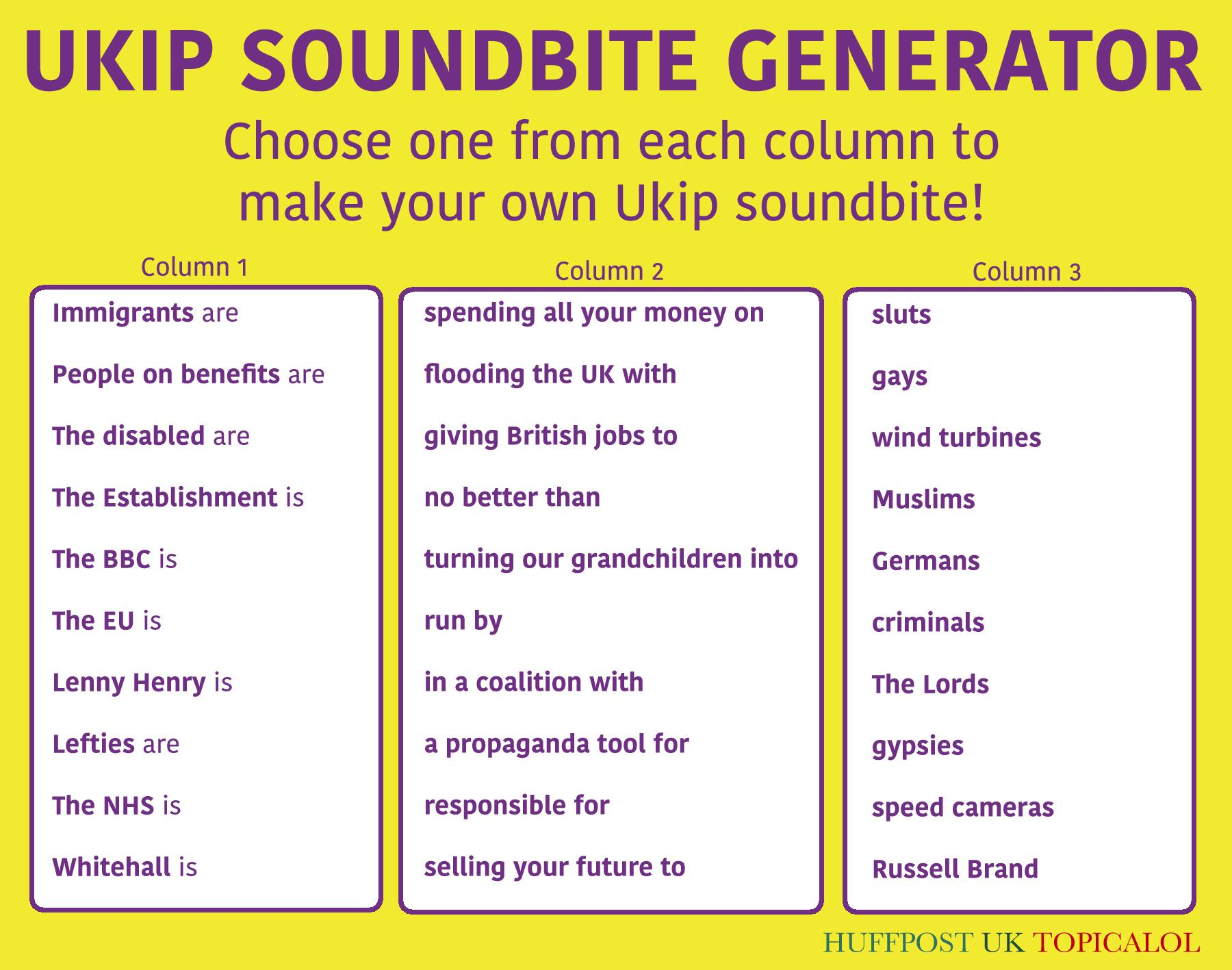 In case you missed it: the UKIP soundbite generator (by @Jason_Spacey & me for @huffpostukcom) http://t.co/1l7zcU3pLV http://t.co/h1JWCLJcUy