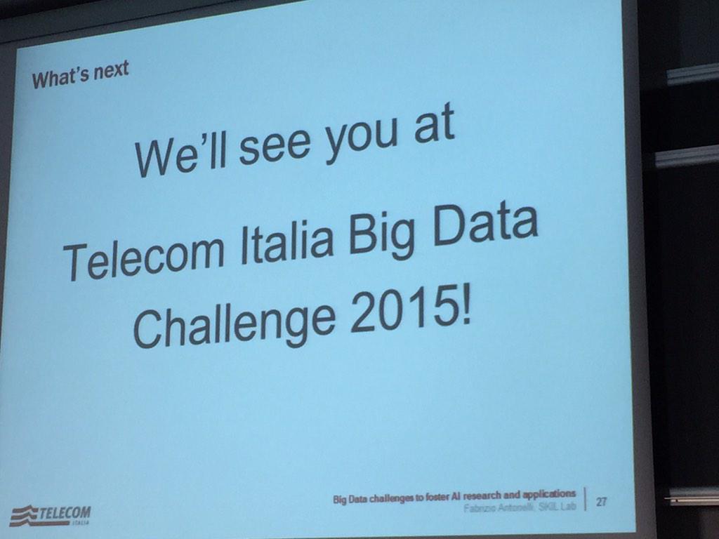 @FaberAntonelli announces @telecomitalia #bigdatachallenge #2015 @polimi PhD course on #bigdata http://t.co/ftFY2ZHO3b