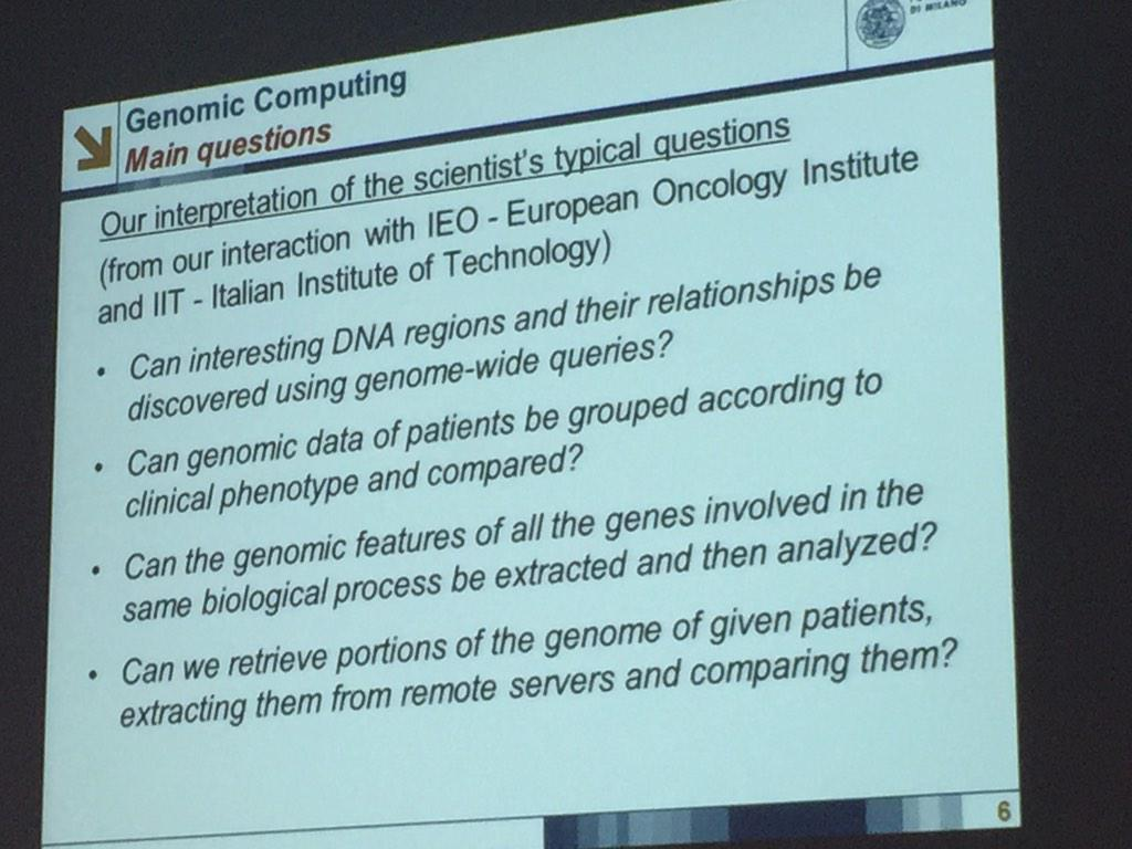 @stefanoceri - the typical scientific questions  #genomiccomputing aims at answering @polimi PhD course on #bigdata http://t.co/Gn6pngbve6