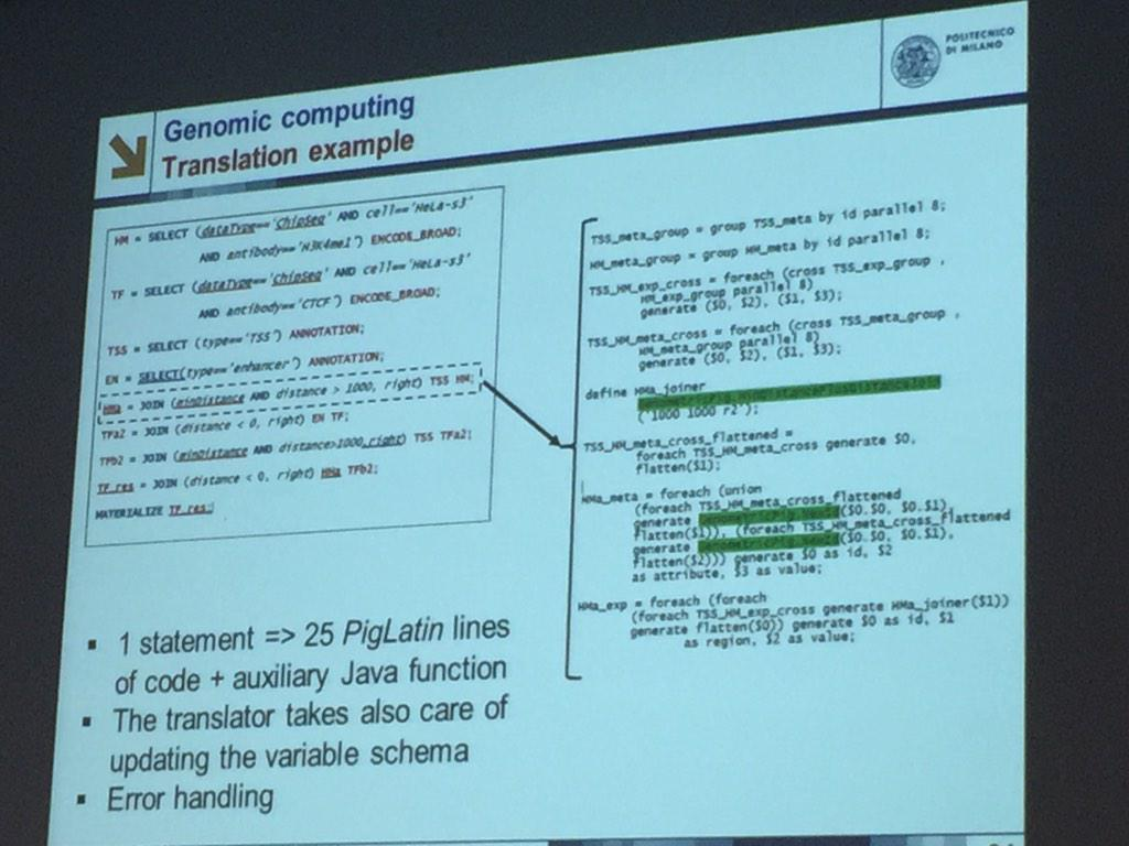 @stefanoceri in #genomiccomputing 1 line of GMQL is translated in 25 #piglatin lines @polimi PhD course on #bigdata http://t.co/ip3TjCACGJ
