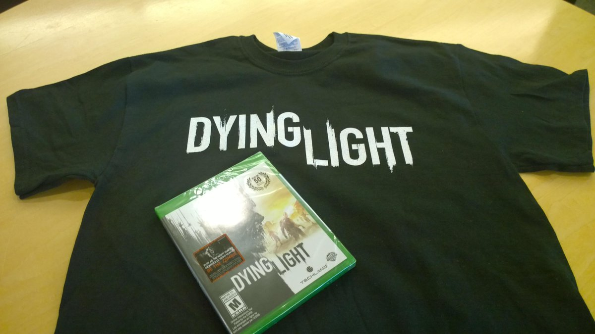 I'm giving away a few of these @DyingLightGame shirts today. Follow & RT by midnight to enter. Good night. Good luck. http://t.co/M8CYOT6Qag