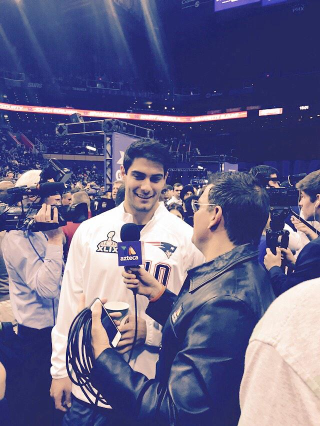 Jimmy G's first #SBMediaDay, looks like he's having fun! ##fox25 #DuelintheDesert #DeflateThis http://t.co/xVWQ4h9w4J