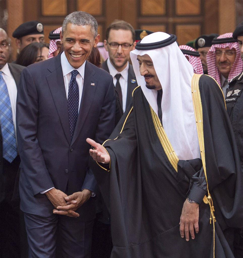 King Salman welcomes President @BarackObama today in Riyadh.