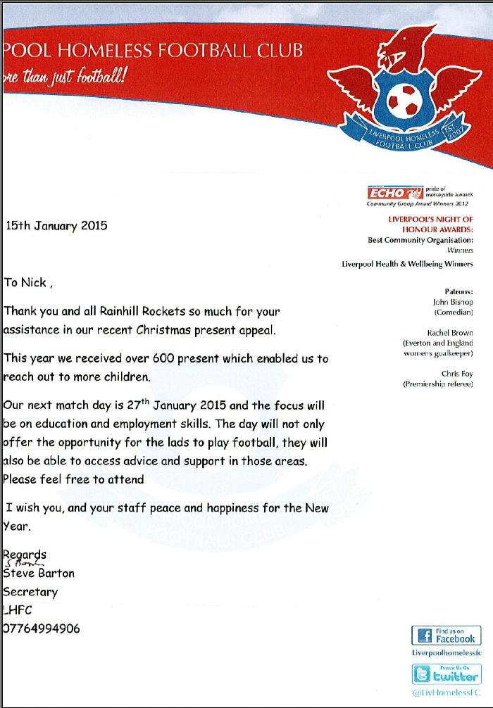 Rainhill Rockets Fc On Twitter Lovely Thank You Letters