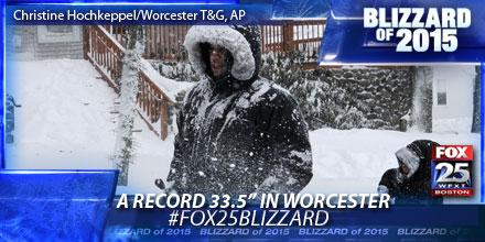 An all-time record 33.5 inches of snow in #Worcester already. Live updates: http://t.co/01VNVVWCnn #fox25blizzard http://t.co/gnI0TzOp2i