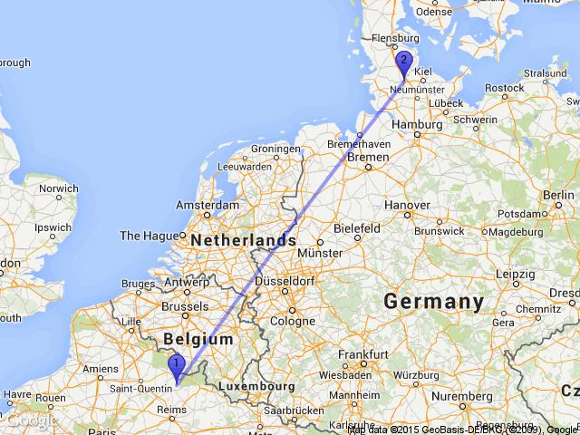 Random Distance on Twitter The distance between Iviers France – Germany Map Distances