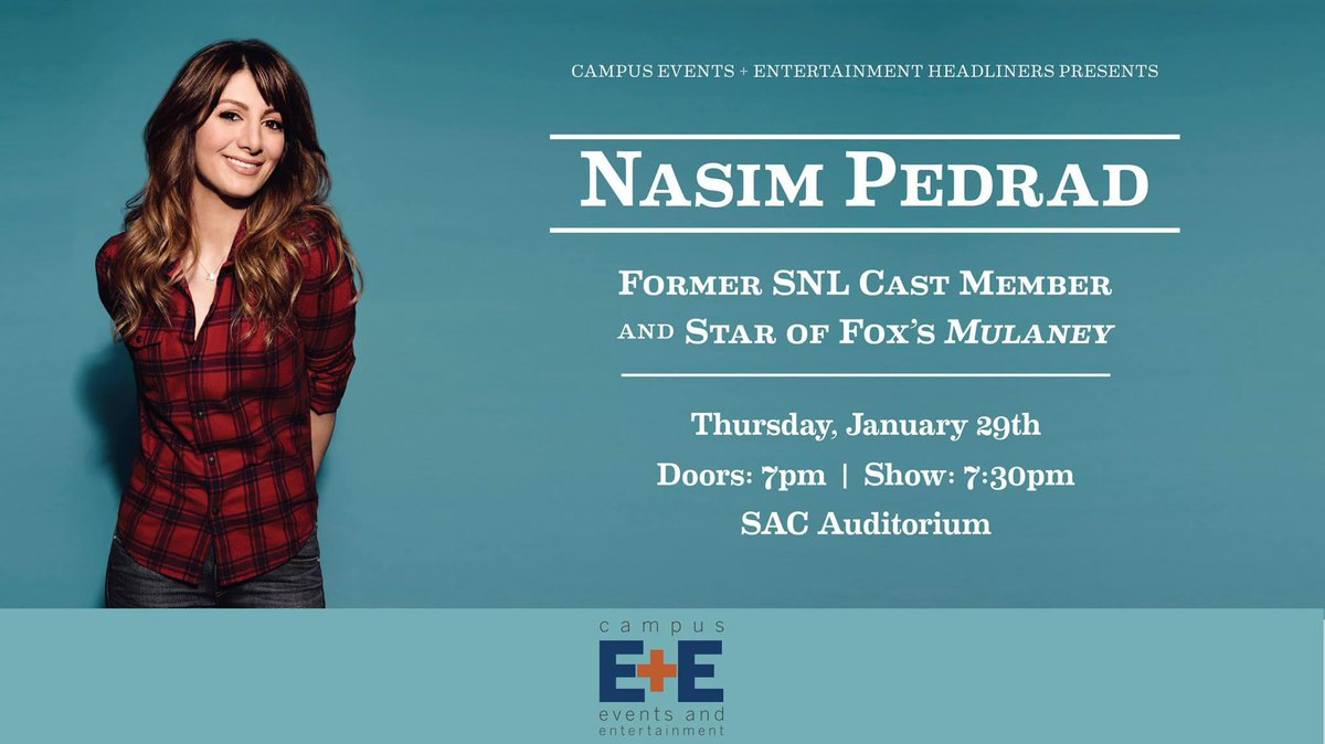 This Thursday come to the @UTSAC Auditorium at 7:30 for a night of comedy with Nasim Pedrad, former SNL cast member! http://t.co/1LaJD6xfk7