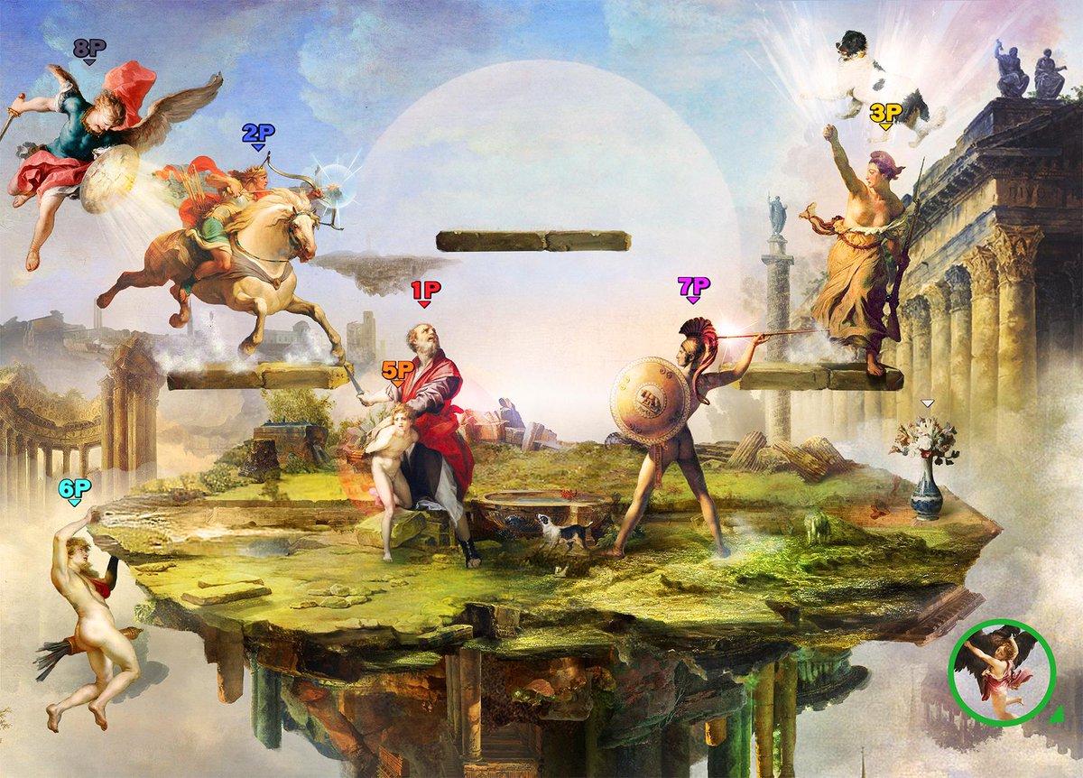 「戦場」  コラージュ  西洋絵画をもとに制作したコラージュ大乱闘 出典の詳細は 「ルールーブルブル」にて展示しました