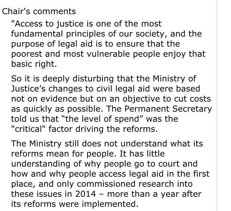 Wow, incredibly scathing Parliamentary report on  Grayling's Legal Aid reforms http://t.co/2prrikif4X via @JackofKent http://t.co/31b7JSY2gl