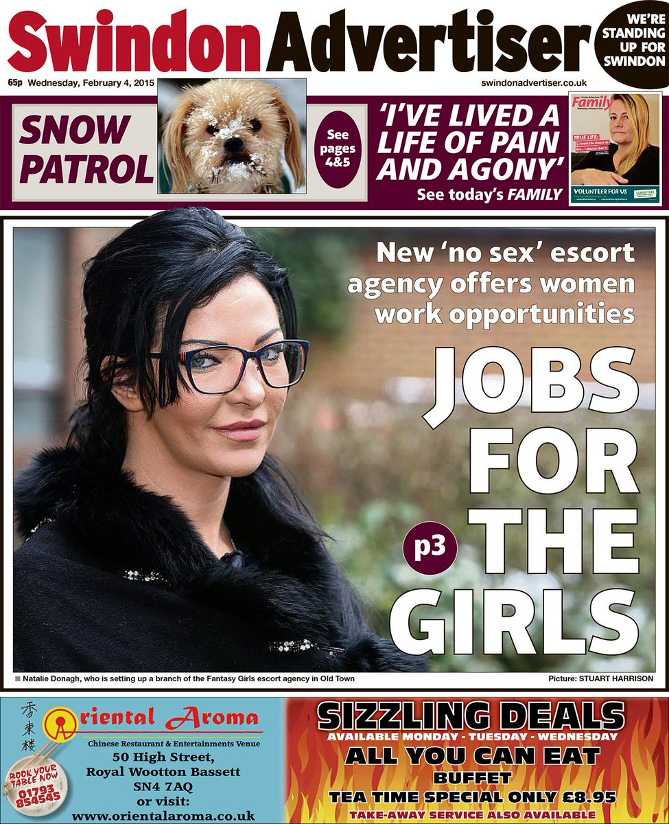 Stuart Harrison On Twitter Todays Swindonadver Front Page About The No Sex Escort Agency Based In Swindon T Co Bmfeteioo4