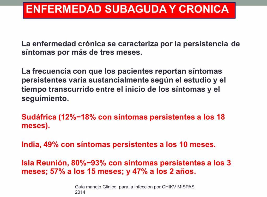 En todos los casos persistencias altas de enfermedad subaguda y crónica en el Chikungunya https://t.co/GN1BEXto7x http://t.co/5aik8Rdkfq