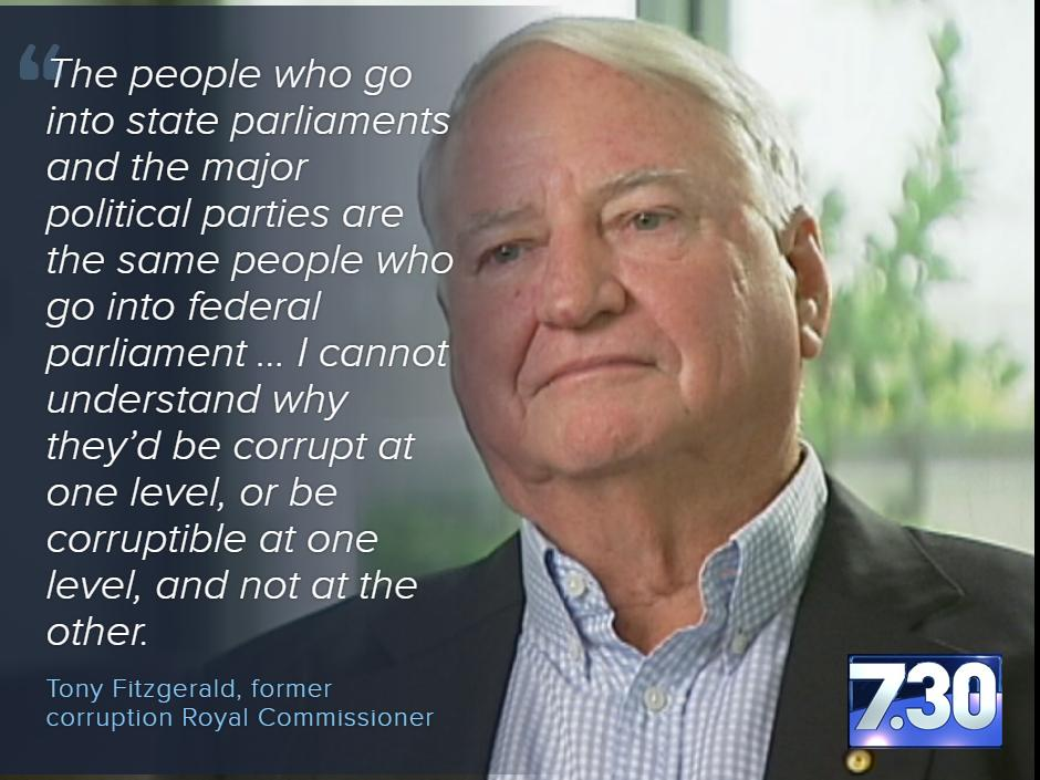 We need a federal corruption watchdog, says former corruption commissioner, Tony Fitzgerald. #abc730 #auspol http://t.co/W3cxO5fSzI