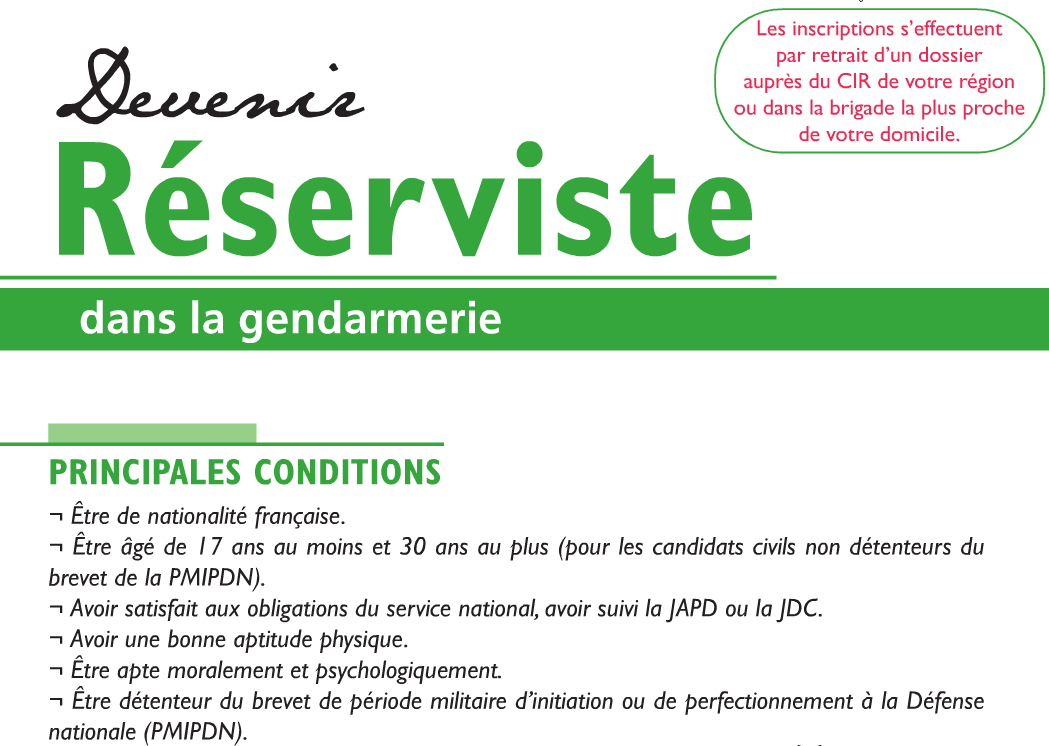 lettre de motivation gendarme reserviste