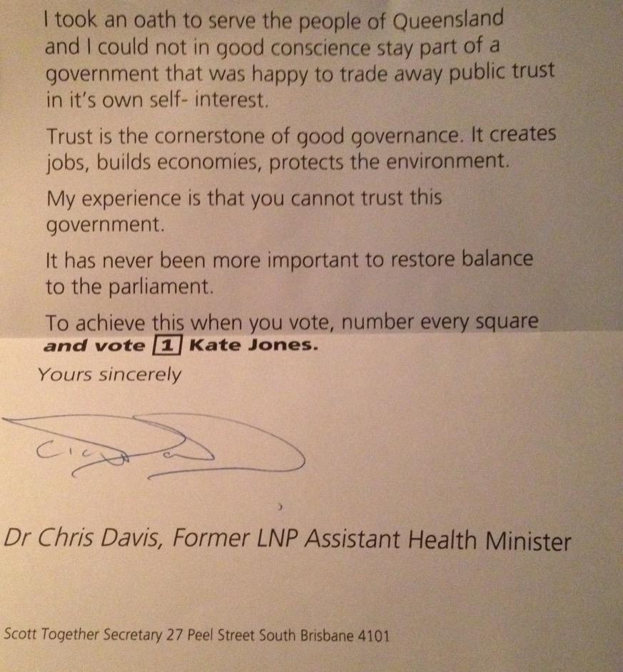 Former LNP MP Chris Davis endorsing @katejonesqld in #Ashgrove http://t.co/QO5TA8ES3s