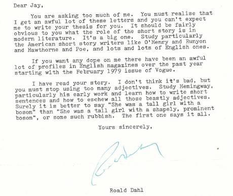 Un diciassettenne mandò un suo racconto a Roald Dahl chiedendogli un parere. Roald Dahl rispose così http://t.co/cjbnQo3OWV