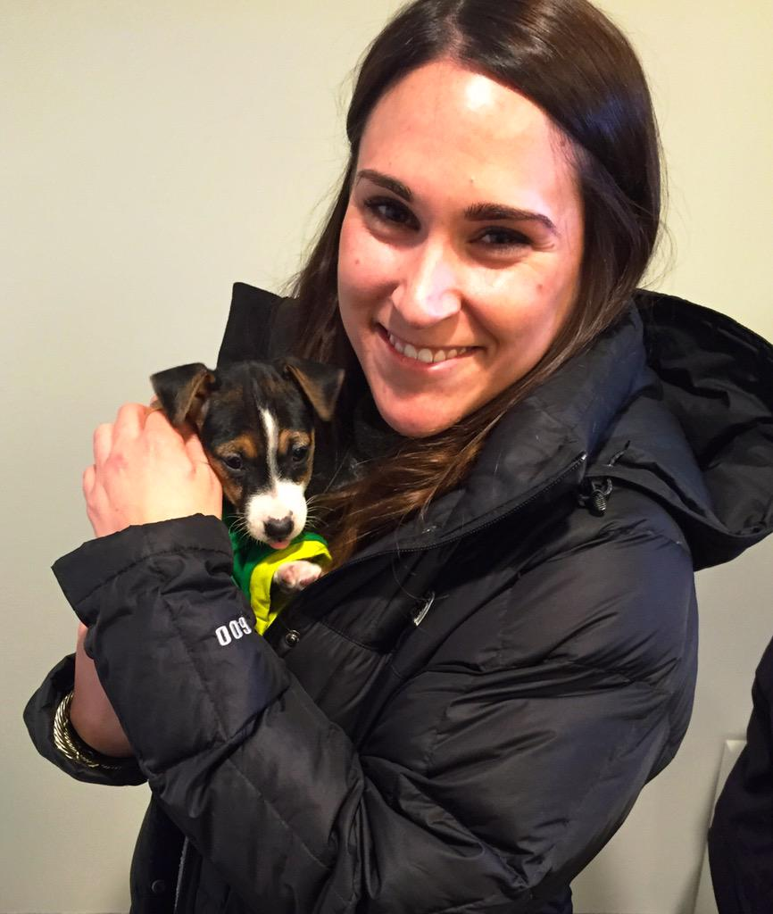 Melissa @melism39 at @MillennialMedia was the first @Uber_Maryland @BARCS_SHELTER request for #UberPuppyBowl #Puppies http://t.co/bWA0nnkfNv