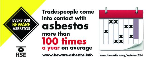 As a tradesperson do you know how often you could be exposed to asbestos? #BewareAsbestos http://t.co/oyKetaFZwG