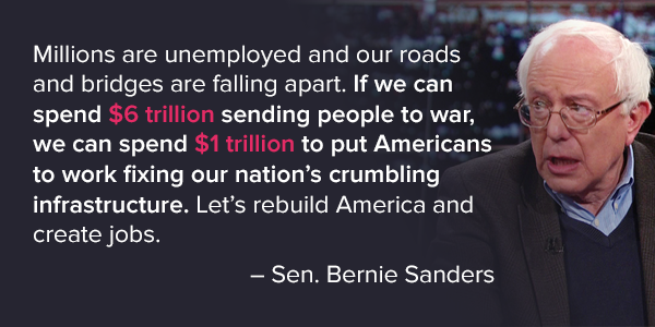 .@SenSanders If we can spend $6 trillion on war, we can spend $1 trillion rebuilding here at home. #RebuildAmerica https://t.co/zbSiy8voYi