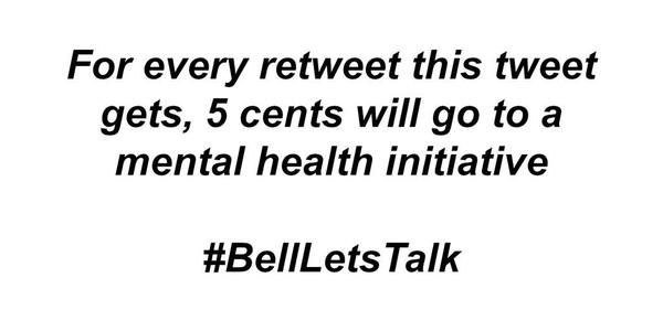 We all know someone who has a mental illness. Depression/anxiety are terrible to deal with. Please RT #BellLetsTalk http://t.co/5qMQ2bNXAH