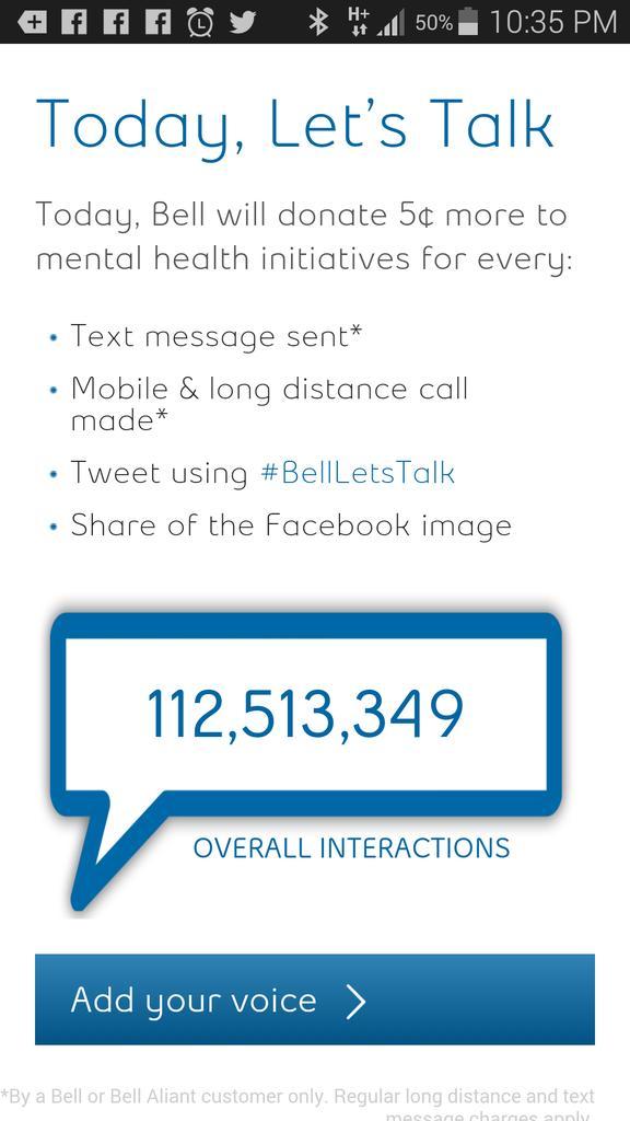 Where #BellLetsTalk stands: Looks like $5.6 million raised so far. http://t.co/pgdxYHwWOx