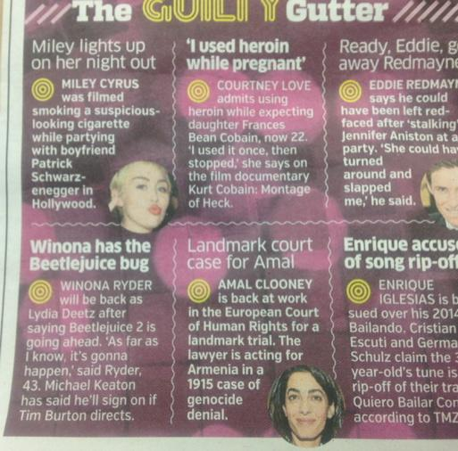 I love how Amal Clooneys new celebrity means that court cases about genocide now pop up in gossip columns http://t.co/4kO4REsDhA