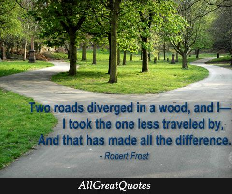 Two roads diverged in a wood by Robert Frost - http://t.co/EOsDx0NOSf http://t.co/AlAjvswGLP