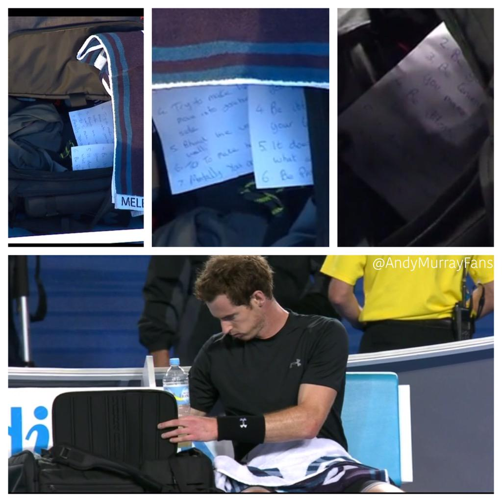 Andy has always seemed to set trends. First, slam champions as coaches, then women coaches.   Now, on-court notes..? http://t.co/X9G2NcCO1G