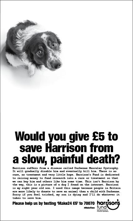For our latest ad with @HarrisonsFund we wondered if it would be easier to raise money for Harrison if he were a dog http://t.co/oBm8S0ouTv